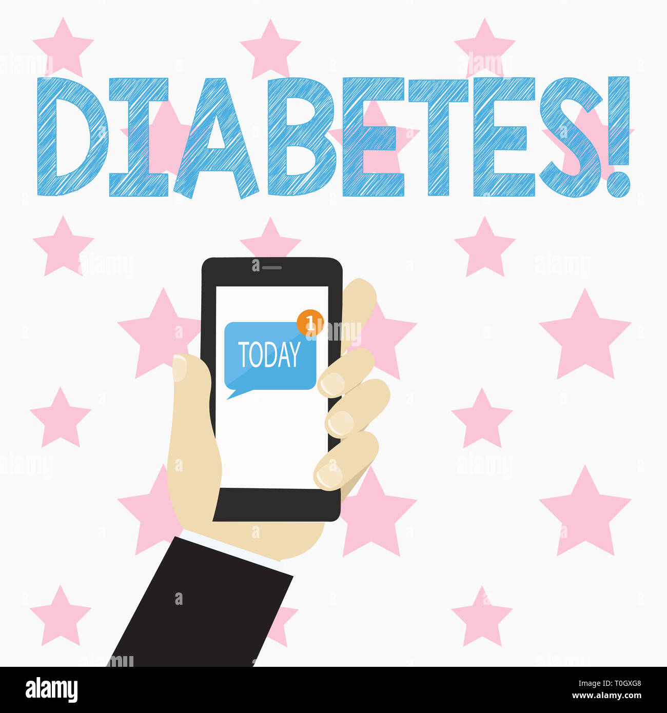 Text sign showing Diabetes. Business photo text Chronic disease associated to high levels of sugar glucose in blood Human Hand Holding Smartphone with - Stock Image