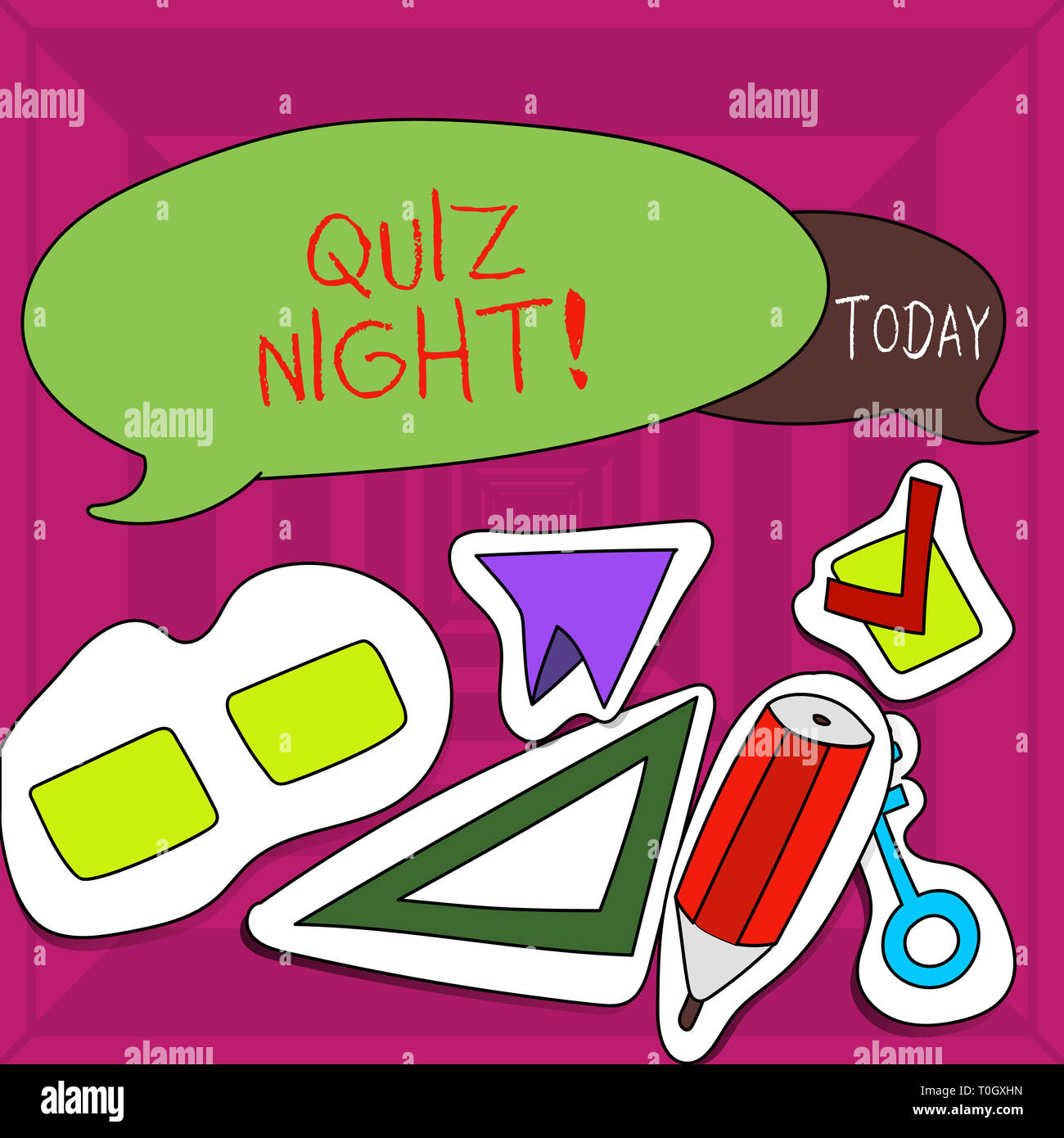 Writing note showing Quiz Night  Business concept for