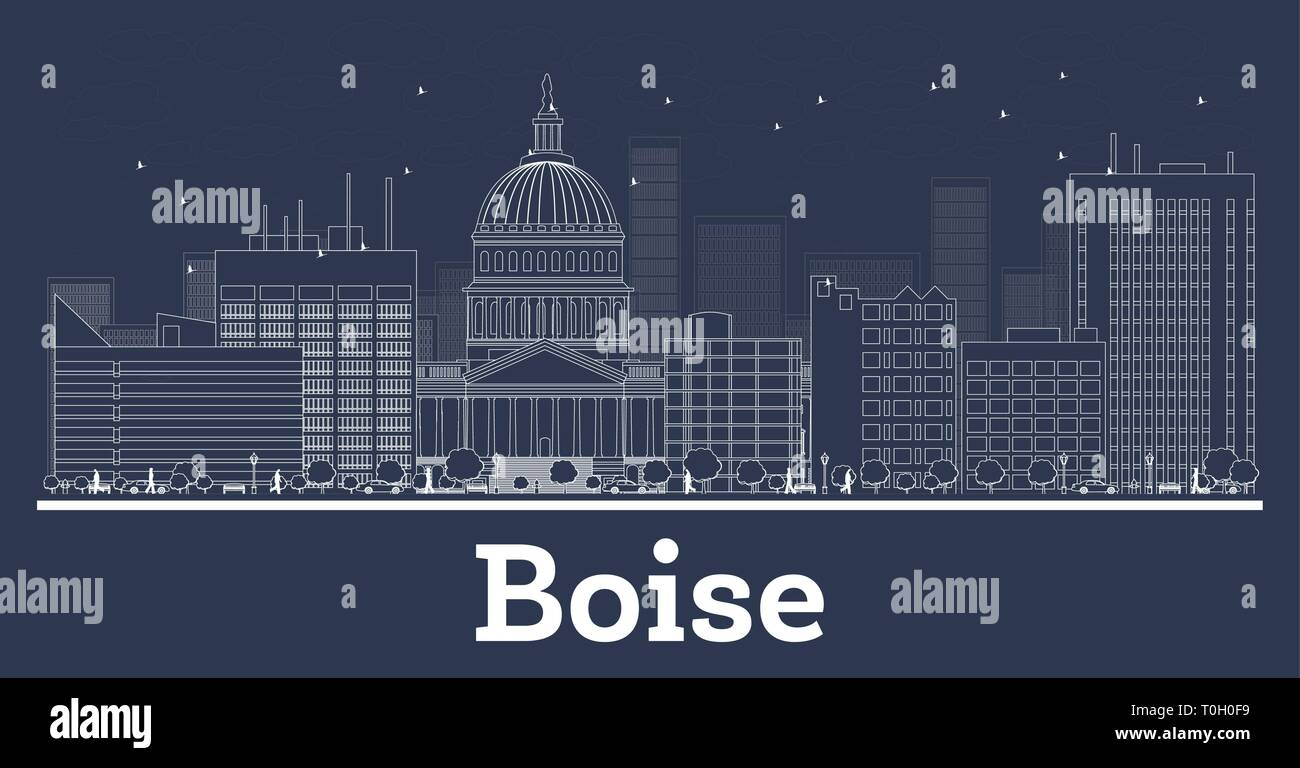 Outline Boise Idaho City Skyline with White Buildings. Vector Illustration. Business Travel and Concept with Modern Architecture. Boise Cityscape. - Stock Vector