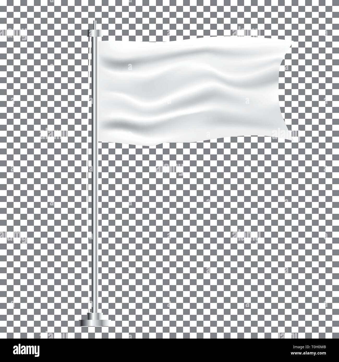 White Textile Waving Empty Flag on Transparent Background. Vector Illustration. - Stock Vector