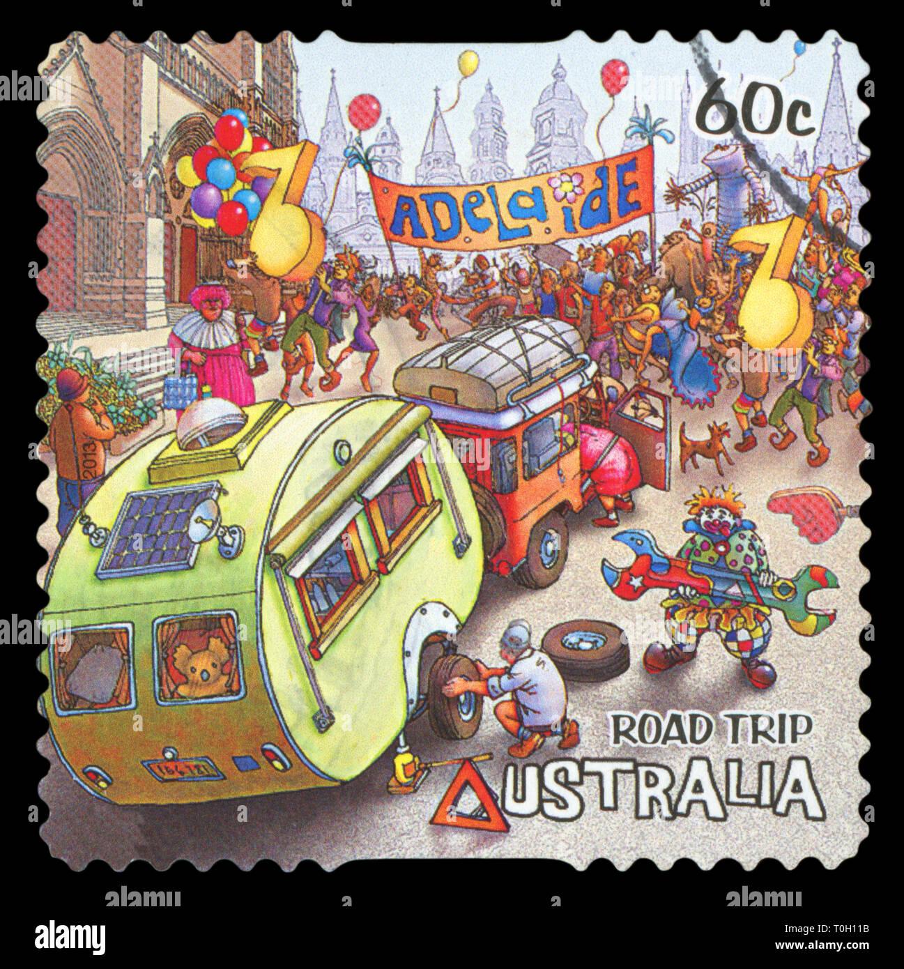 AUSTRALIA - CIRCA 2013: A stamp printed in Australia dedicated to the road trip, shows Adelaide, SA , Australia, circa 2013. - Stock Image