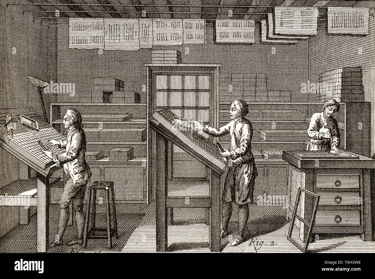 18th century printing press from the 'Encyclopédie' of D'Alambert and Diderot - Stock Image
