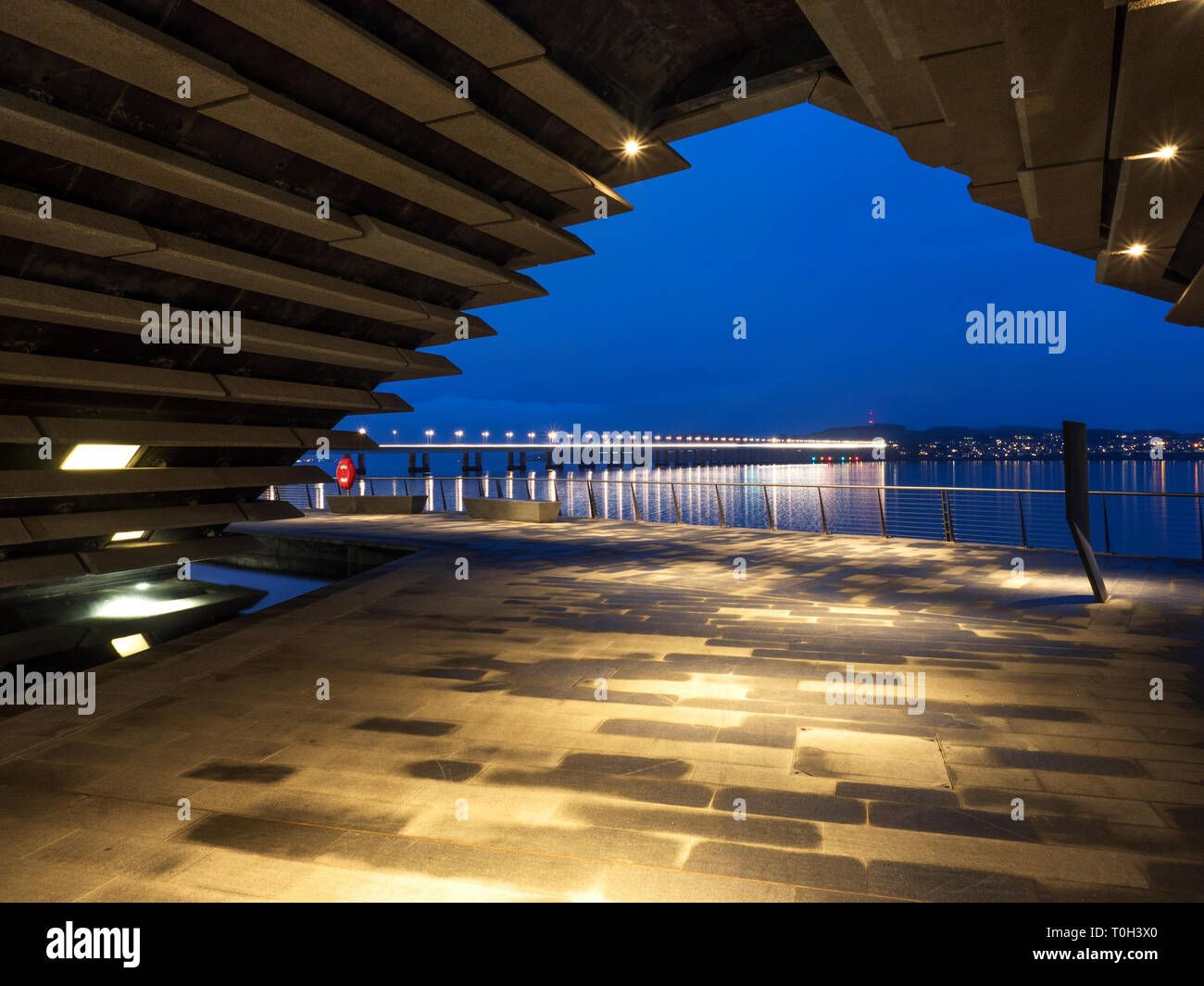 Tay Bridge viewed from the V&A Dundee design museum at Riverside Esplanade Dundee Scotland - Stock Image