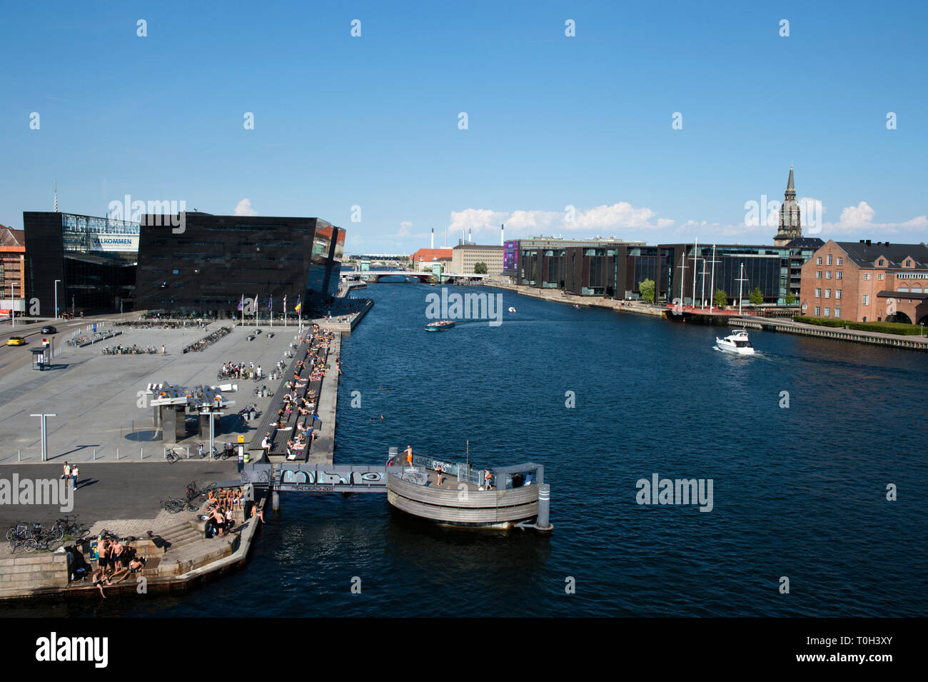 Denmark, Copenaghen, cityscape and Black Diamond from the rooftop of Blox buiding - Stock Image