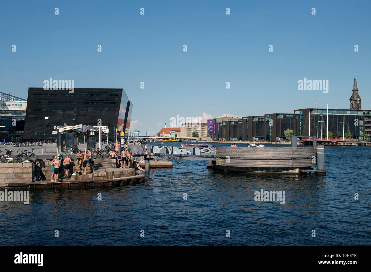 Denmark, Copenaghen, cityscape and Black Diamond from the Blox buiding - Stock Image