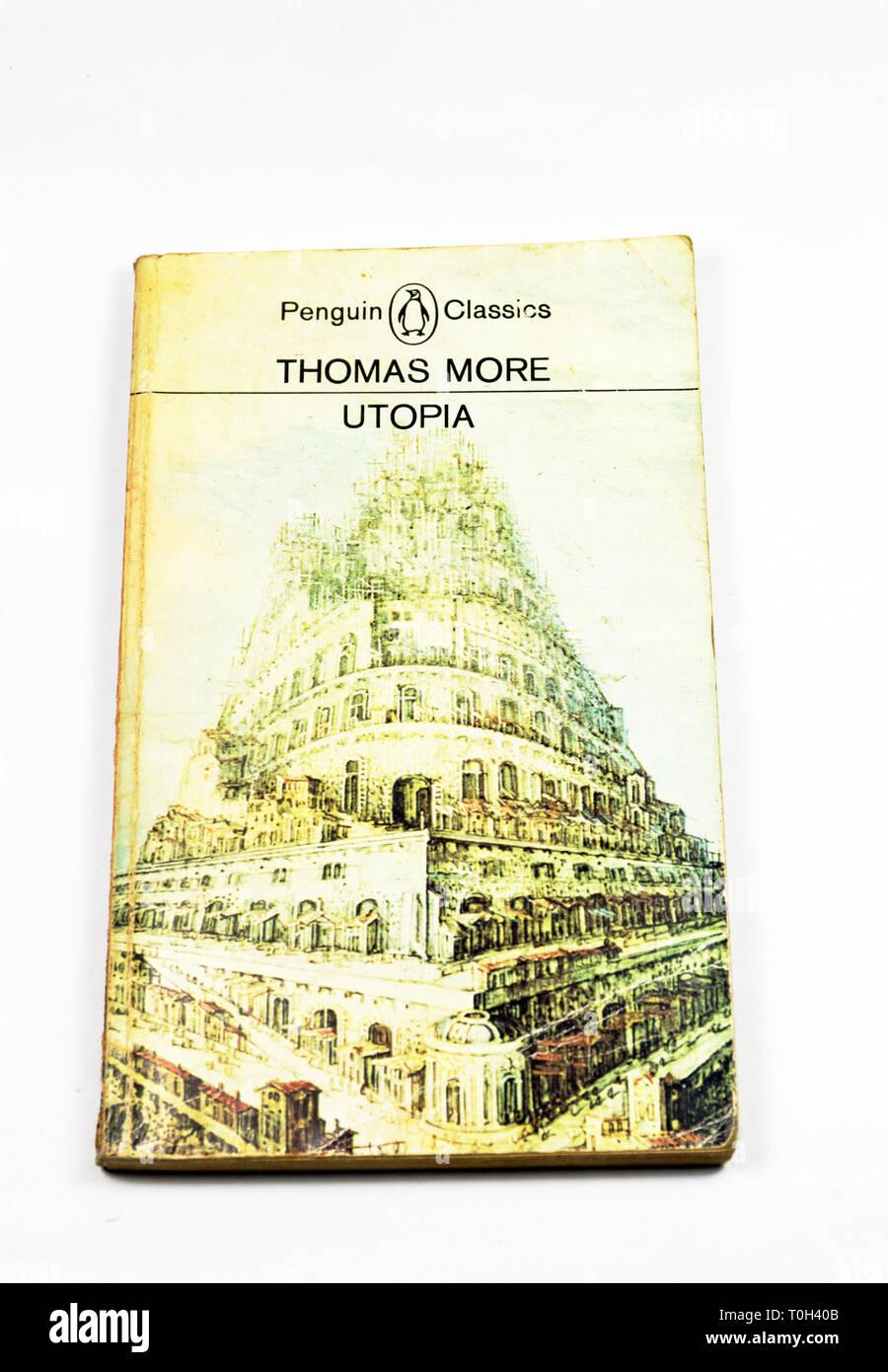 Thomas More, Utopia book - Stock Image