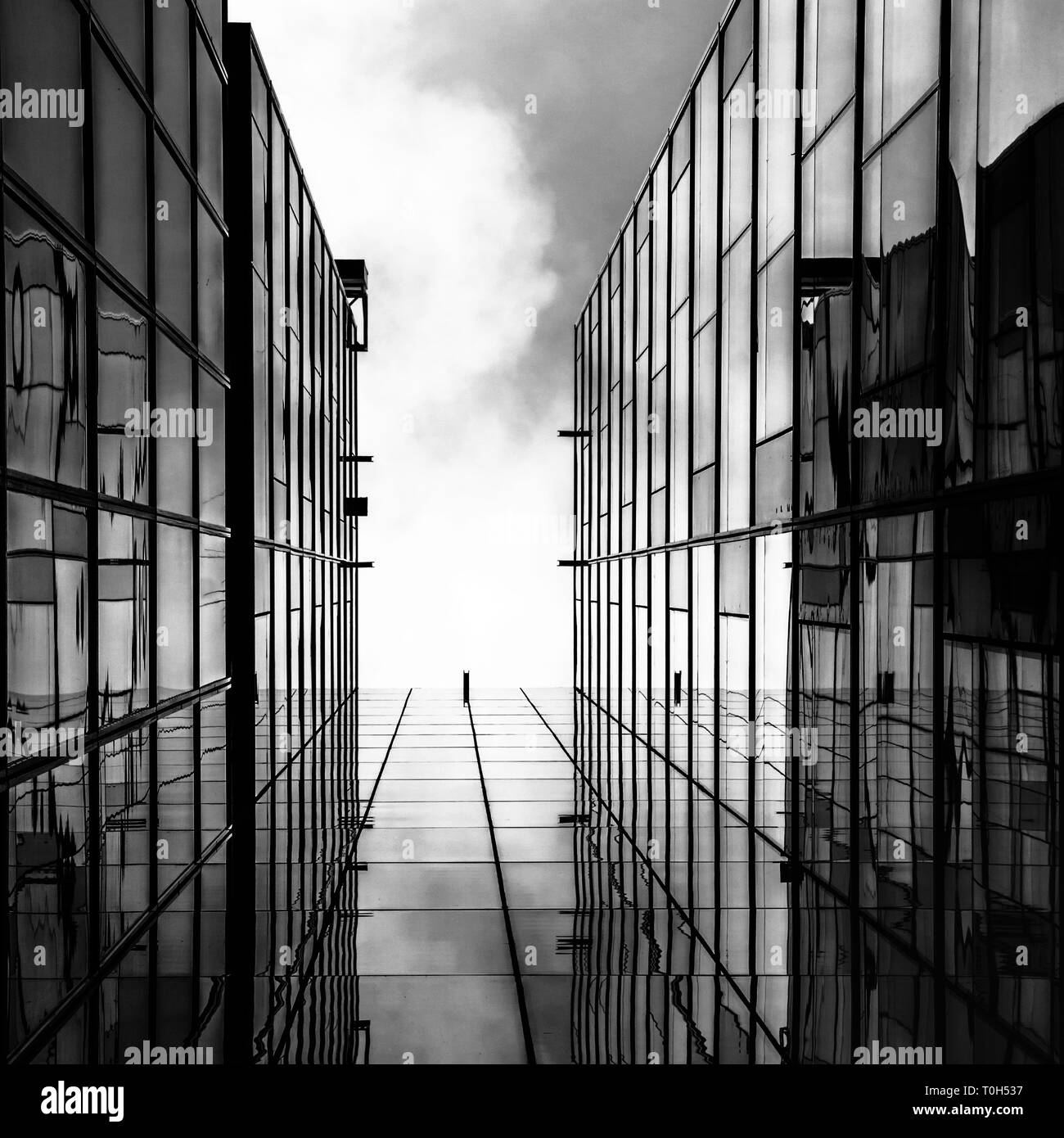 Building facade with an amazing perspective black and white photo