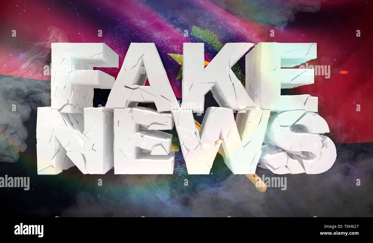 3D illustration of fake news concept with background flag of Angola. - Stock Image