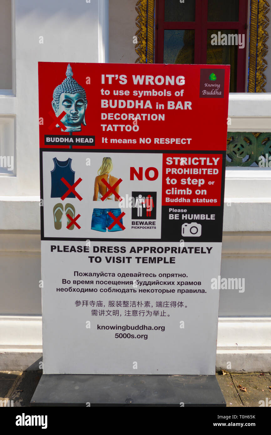 Instructions and rules for visitors, Wat Bowonniwet, Phra Nakhon district, Bangkok, Thailand - Stock Image