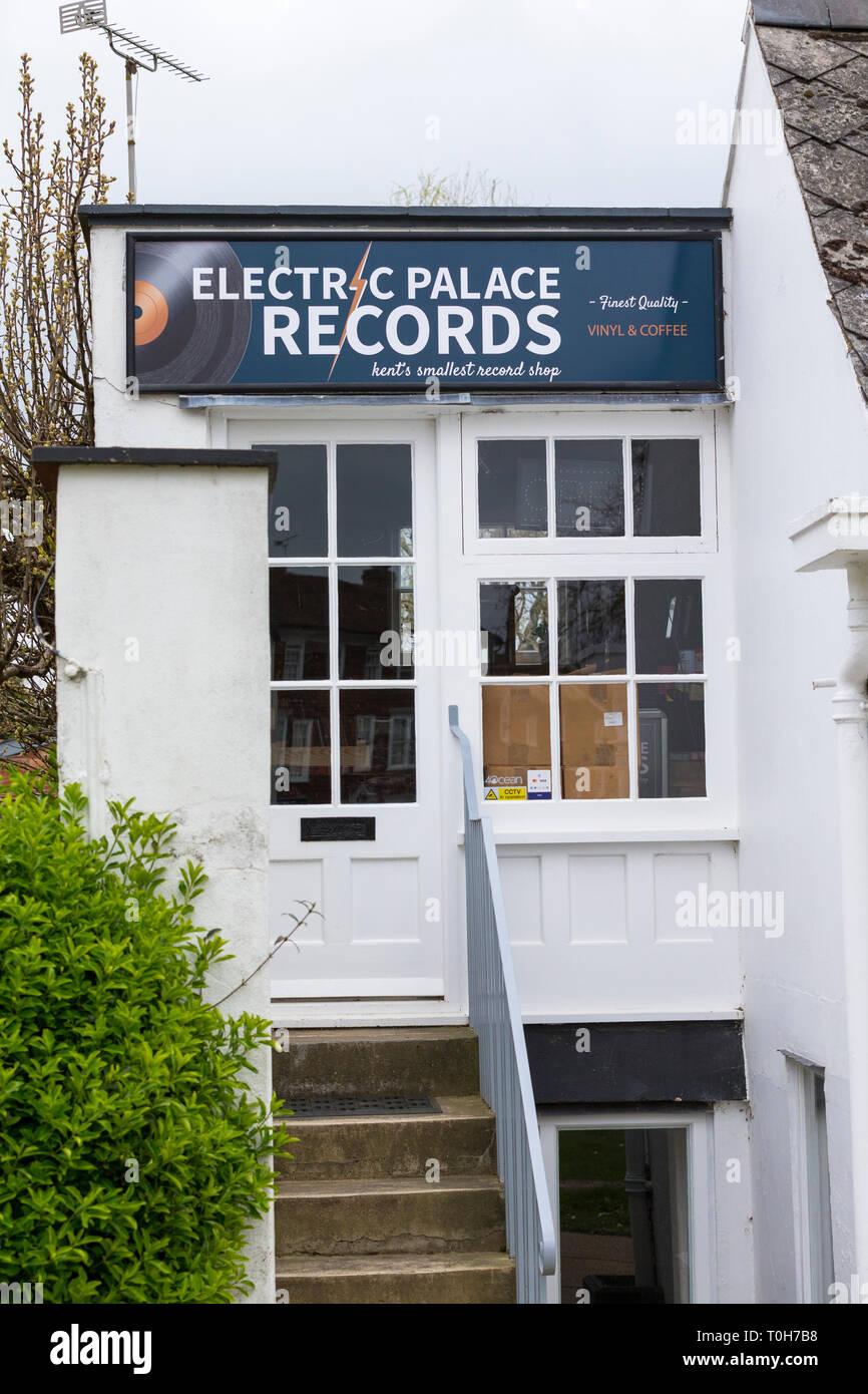 Electric palace records, kents smallest record shop, tenterden, kent, uk - Stock Image