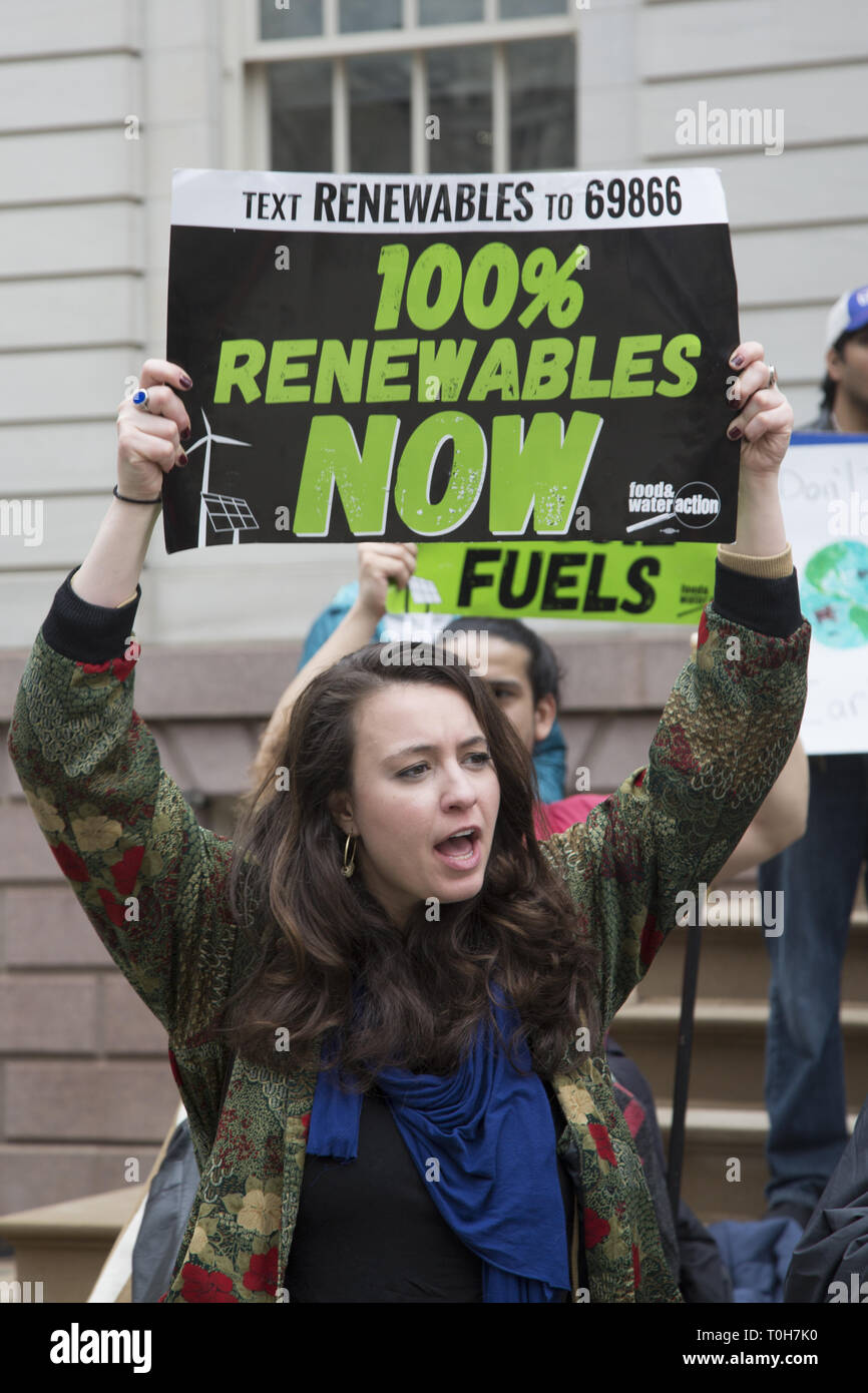New York City: Environmental groups held a press conference at City Hall to stop the construction of the Williams Pipeline which would carry fracked gas and extend the use of fossil fuels and create serious health risks for New York City. - Stock Image