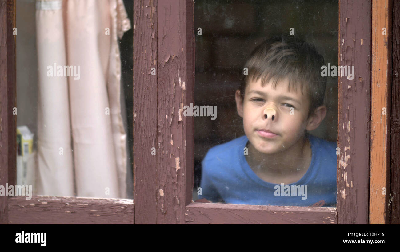 funny boy leaned nose to the window at home and looks into the camera - Stock Image