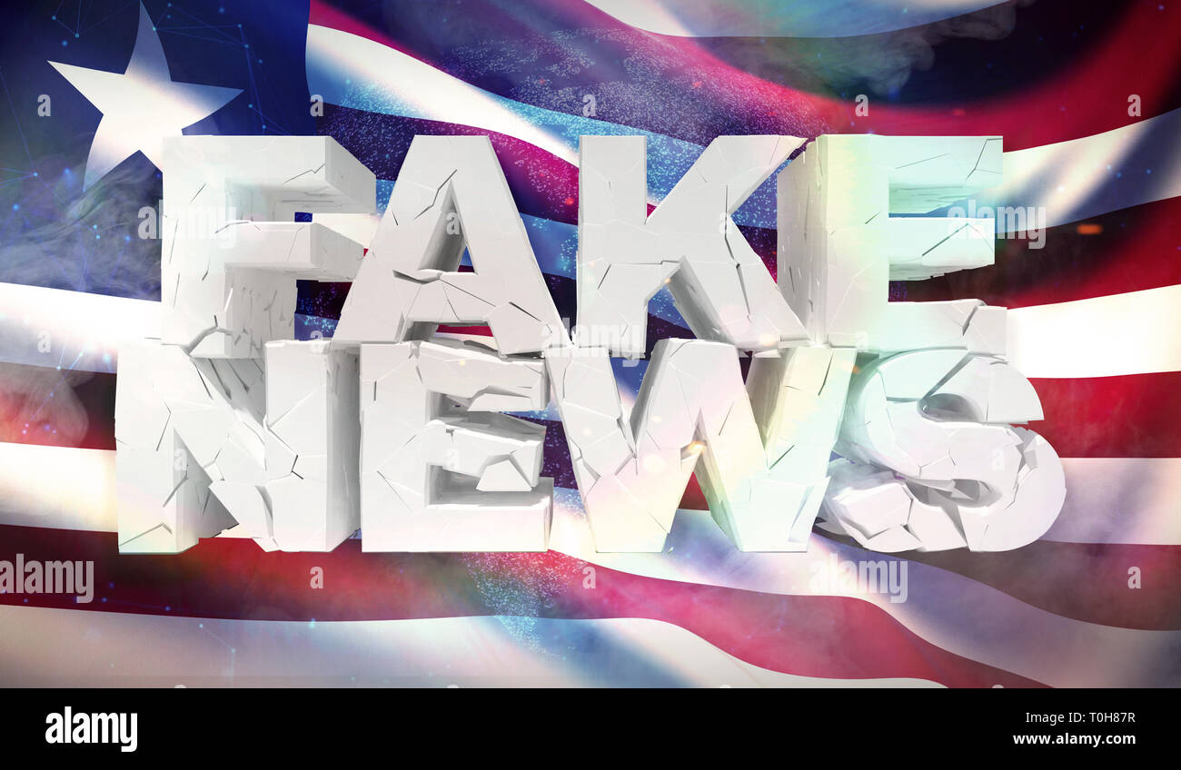 3D illustration of fake news concept with background flag of Liberia. - Stock Image
