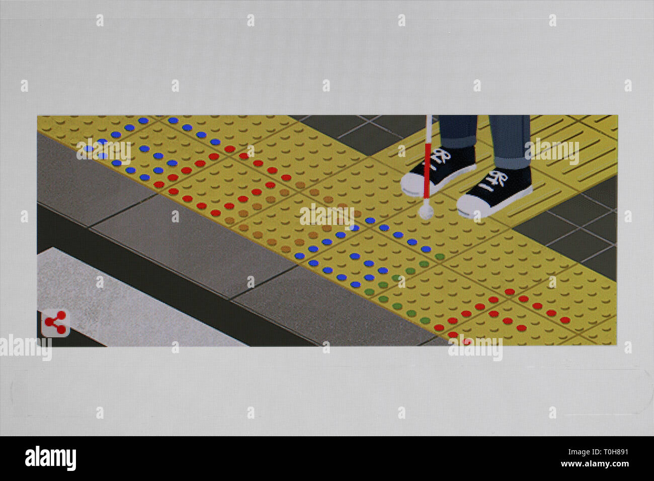 Special google doodle logo pays tribute to japanese inventor Seiichi Miyake, inventor fo tenji or tactile blocks in public places for blind people. Stock Photo