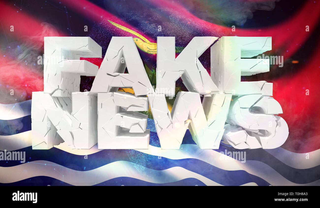 3D illustration of fake news concept with background flag of Kiribati. - Stock Image