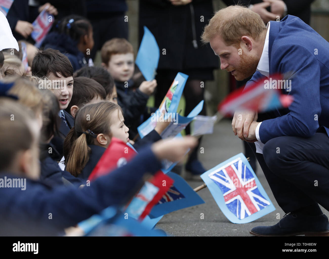 The Duke of Sussex, joins schoolchildren as they take part