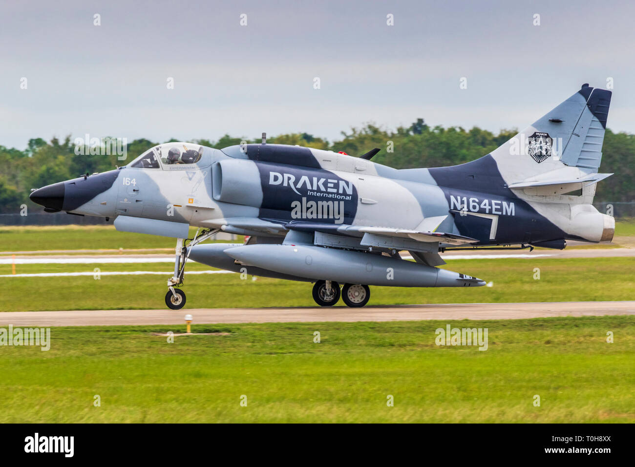 Douglas A-4K Skyhawk at 2018 Wings over Houston Air Show in Houston, Texas. Featured items included Blue Angels and other aviation related programs. - Stock Image