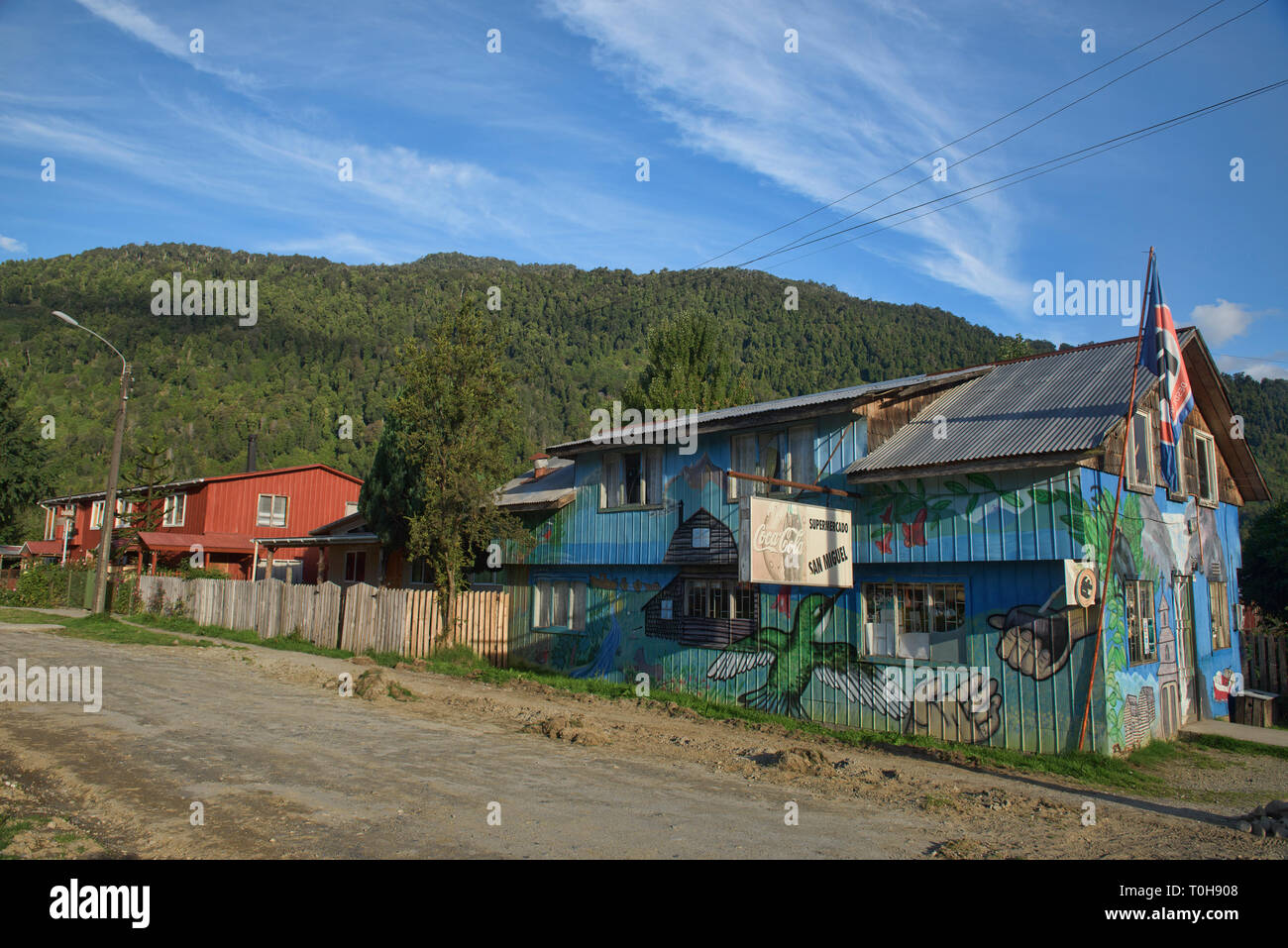 Small town life, Puyuhuapi, Carretera Austral, Patagonia, Aysen, Chile - Stock Image