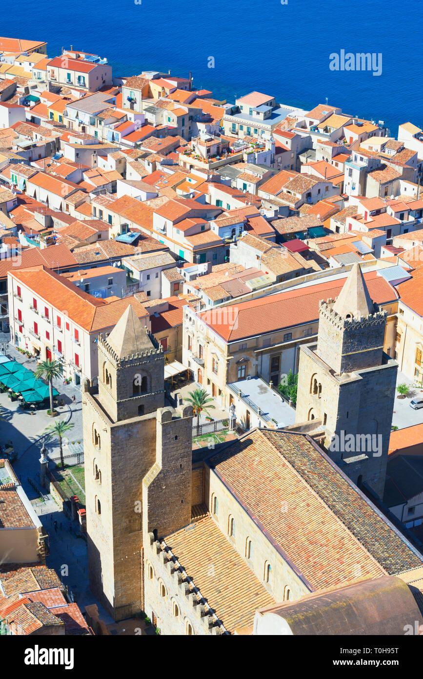 Top view of Cefalu, Cefalu, Sicily, Italy, Europe - Stock Image