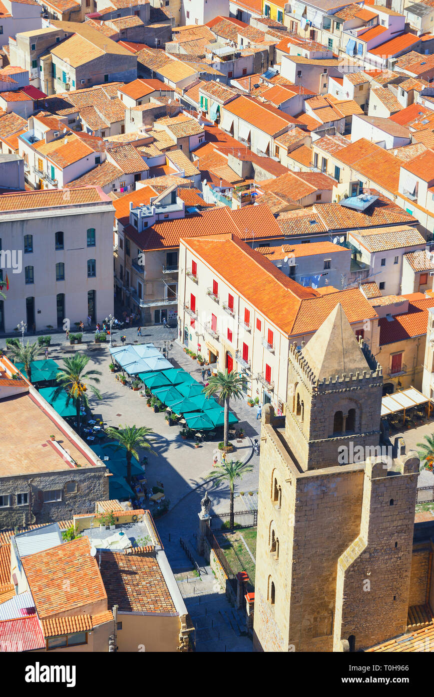 Top view of Cathedral San Salvatore and Piazza Duomo, Cefalu, Sicily, Italy, Europe - Stock Image