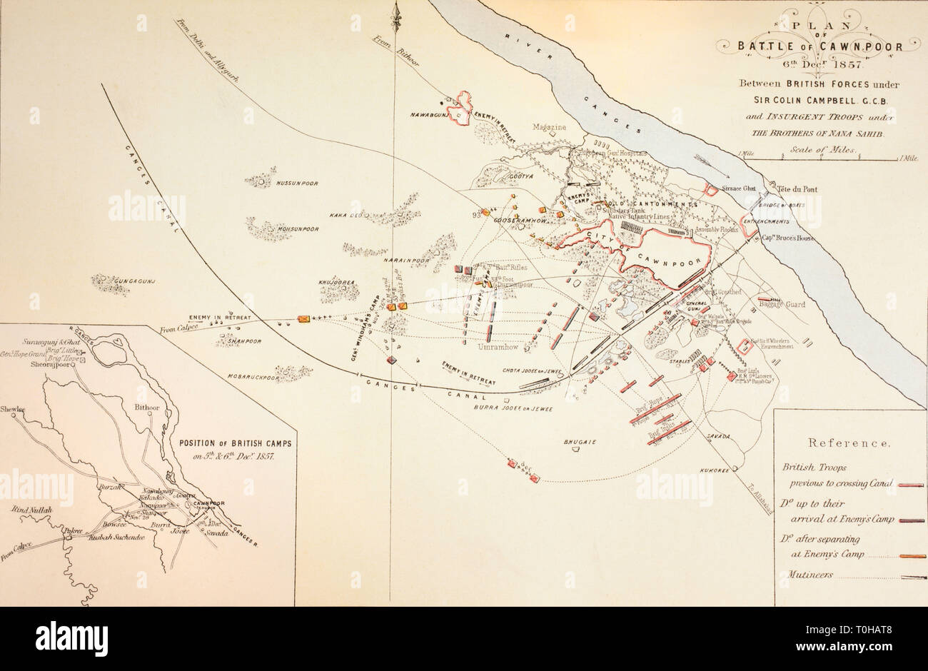 Plan of the Battle of Cawnpore, 1857 Stock Photo