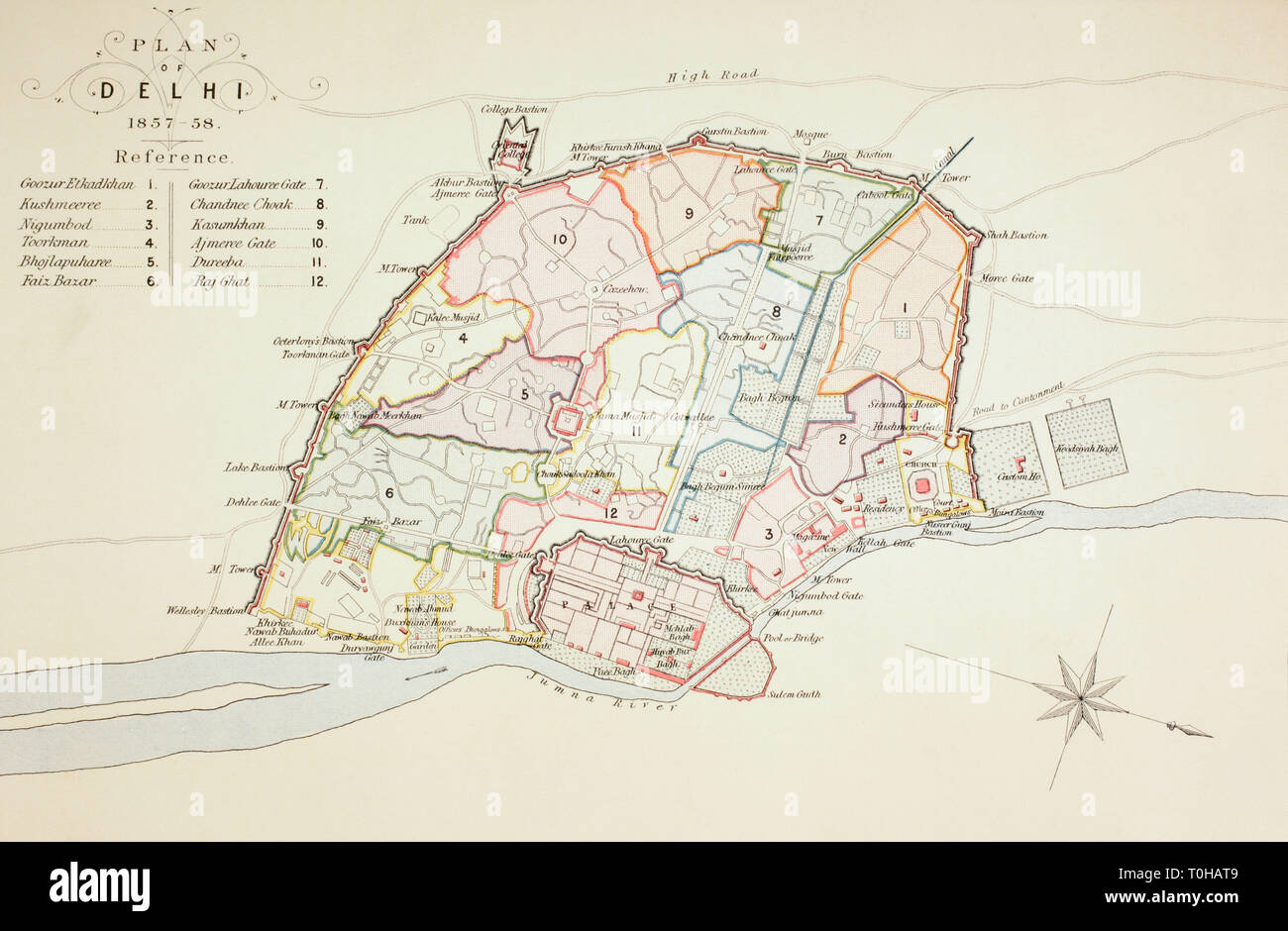 Plan of Delhi, India, Asia, 1857 Stock Photo