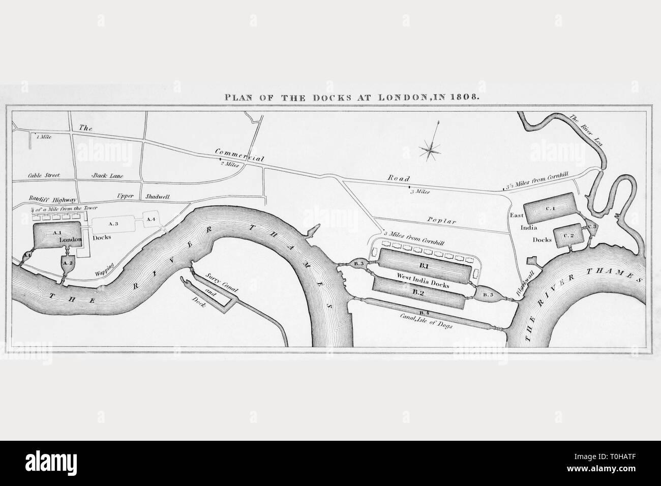 Plan of London docks, 1808 - Stock Image