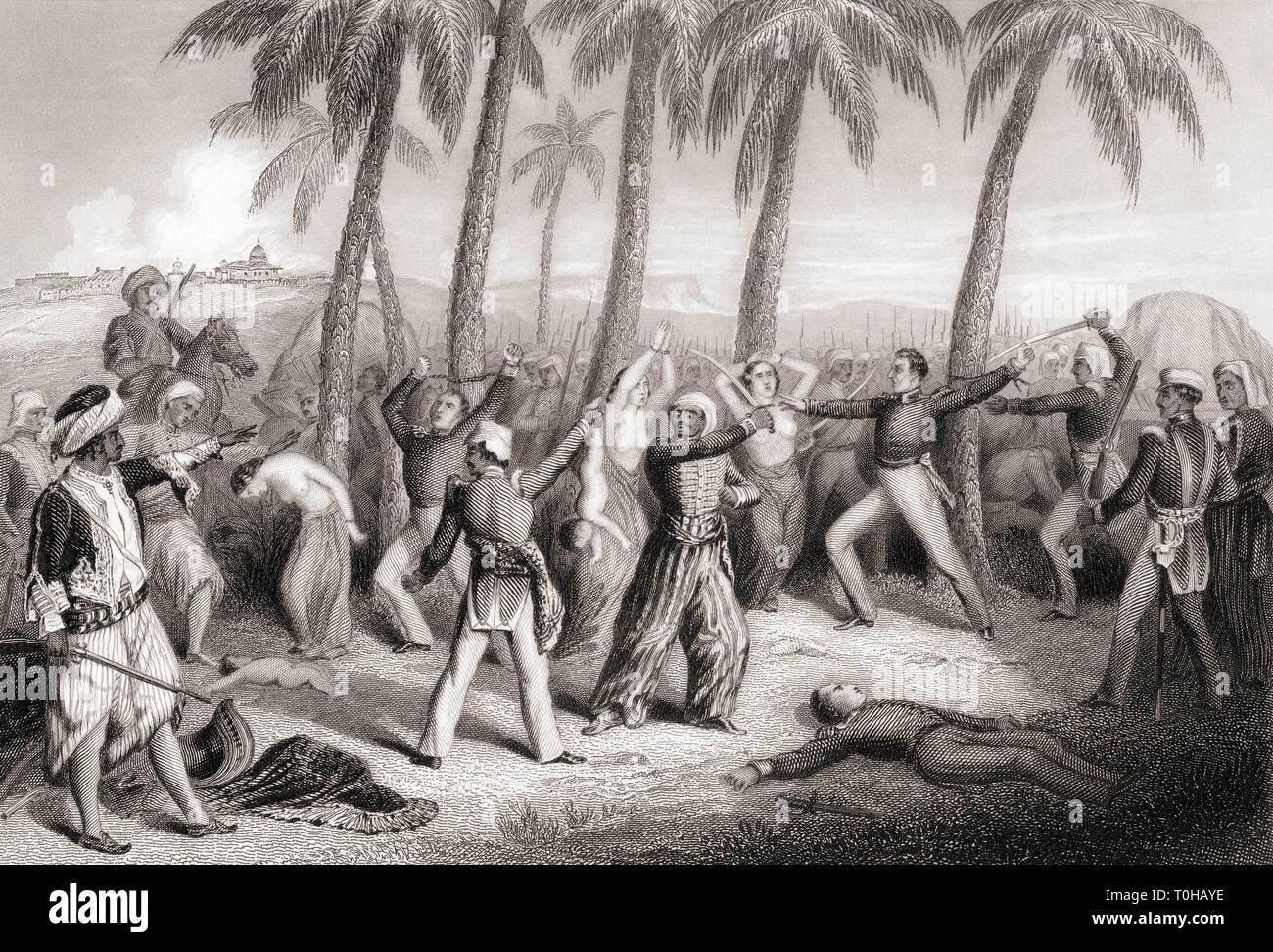 Massacre of English officers and wives, Jhansi, Uttar Pradesh, India, Asia, 1857 Stock Photo