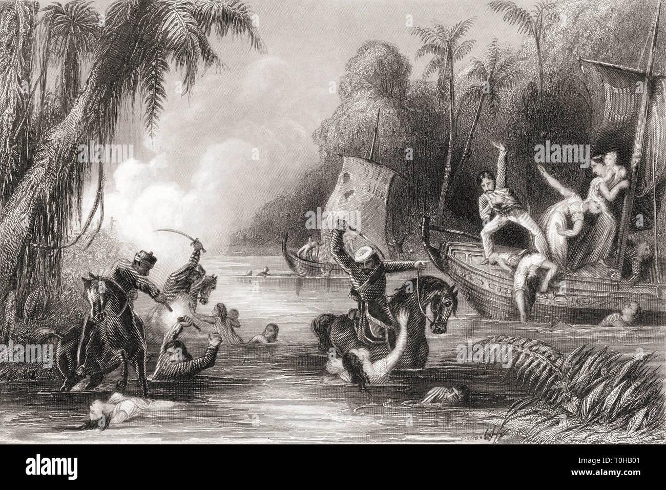 Massacre in the boats of Cawnpore, India, Asia, 1857 - Stock Image