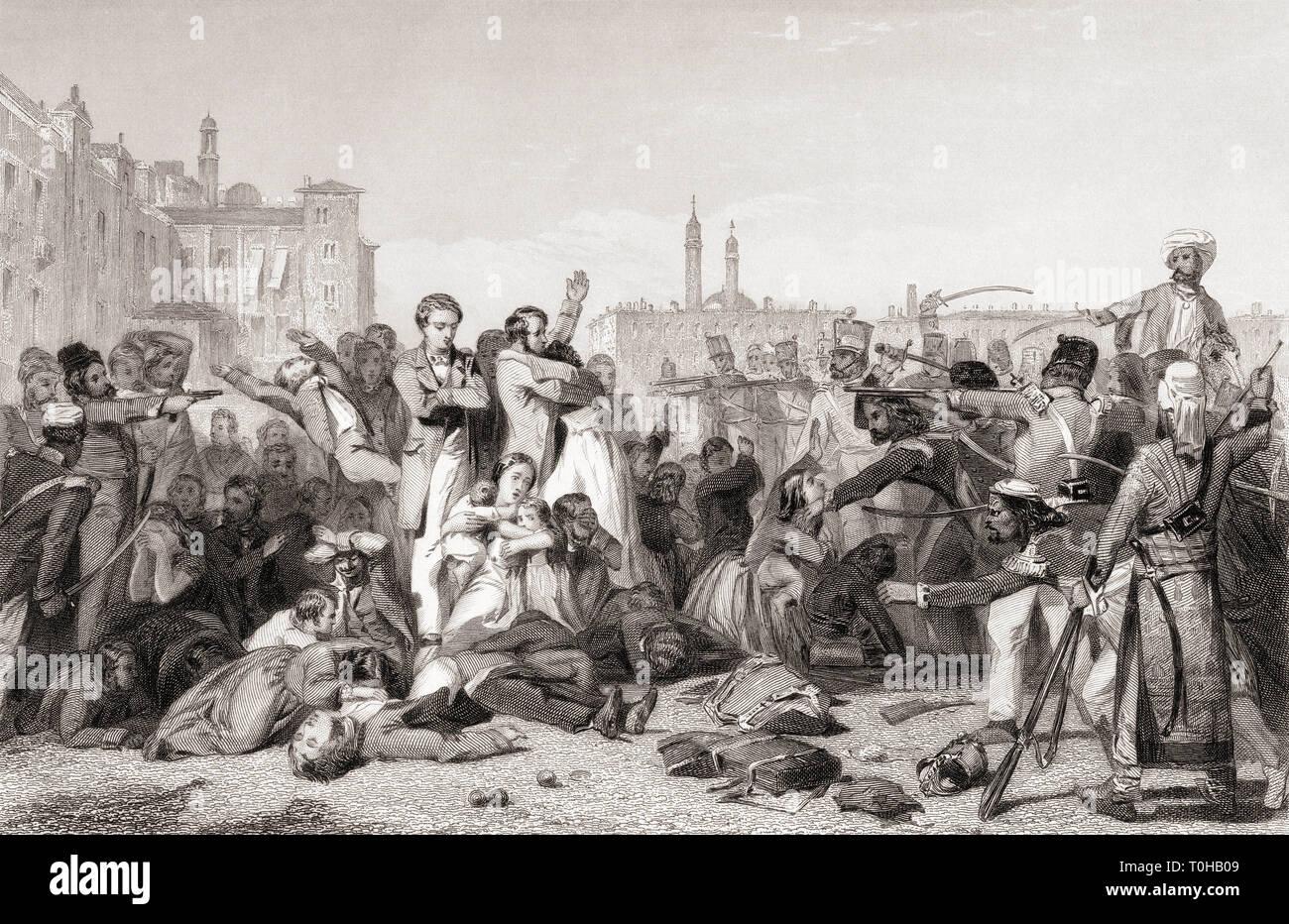 Massacre at Cawnpore, Kanpur, Uttar Pradesh, India, Asia, 1857 Stock Photo