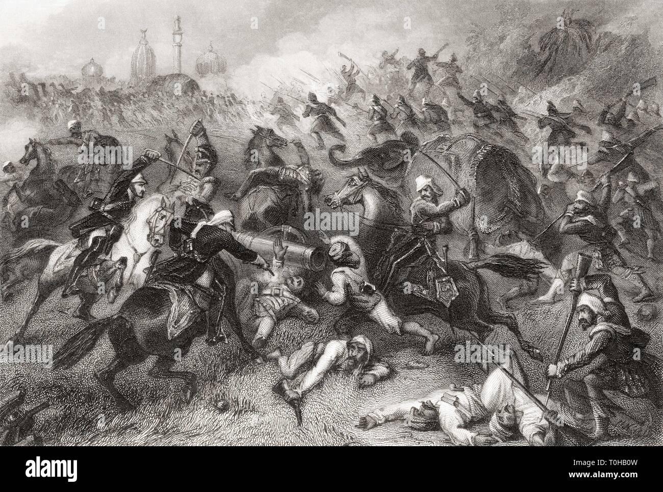 Havelocks column attacking mutineers before Cawnpore, Uttar Pradesh, India, Asia, 1857 Stock Photo