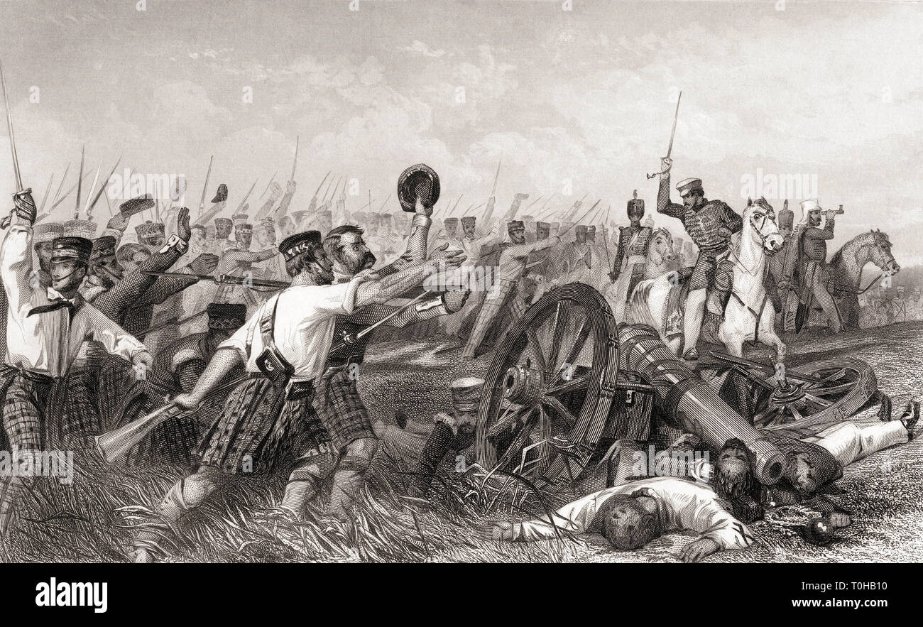 Charge of the Highlanders before Cawnpore under General Havelock, India, Asia - Stock Image