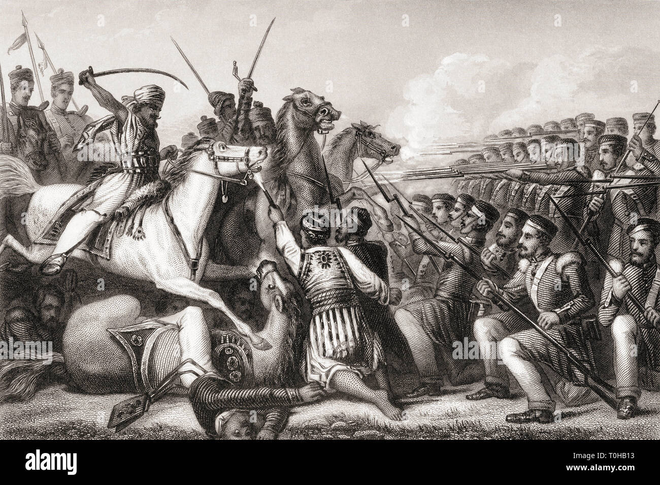 Mutineer cavalry attacking an infantry square, Battle of Cawnpore, India, Asia, 1857 Stock Photo