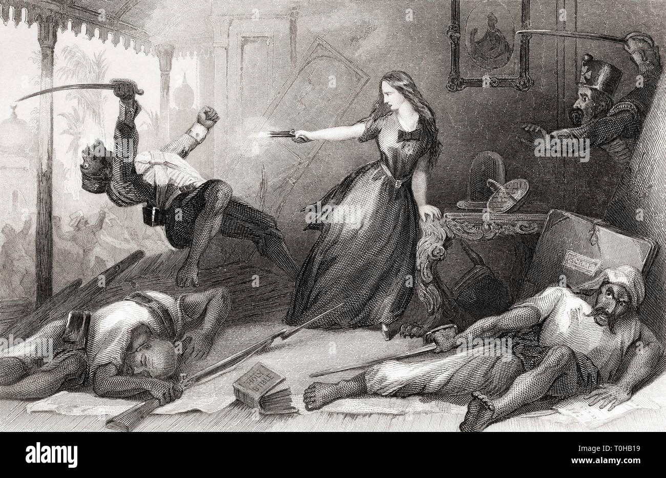 Miss Wheeler defending herself against Sepoy at Cawnpore, India, Asia, 1857 - Stock Image