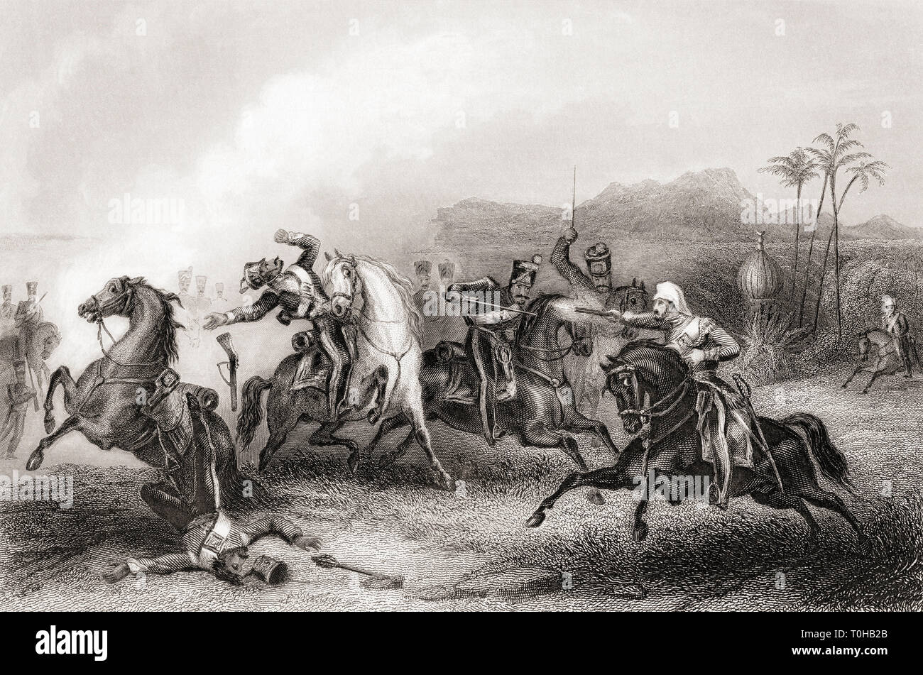 Encounter between Lieutenant Hills and body of Sepoy cavalry, India, Asia - Stock Image
