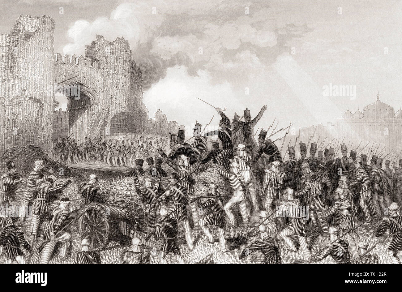 Assault of Delhi, Capture of the Cashmere Gate, India, Asia, 1857 Stock Photo