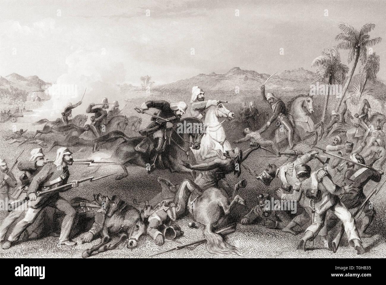Attack on Sealkote mutineers by General Nicholson's irregular cavalry, India, Asia, 1857 Stock Photo