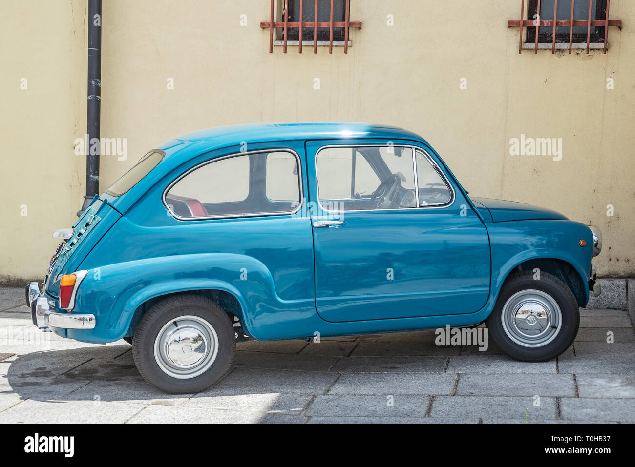 Fiat 600 : old, small, vintage italian car in perfect condition - Stock Image