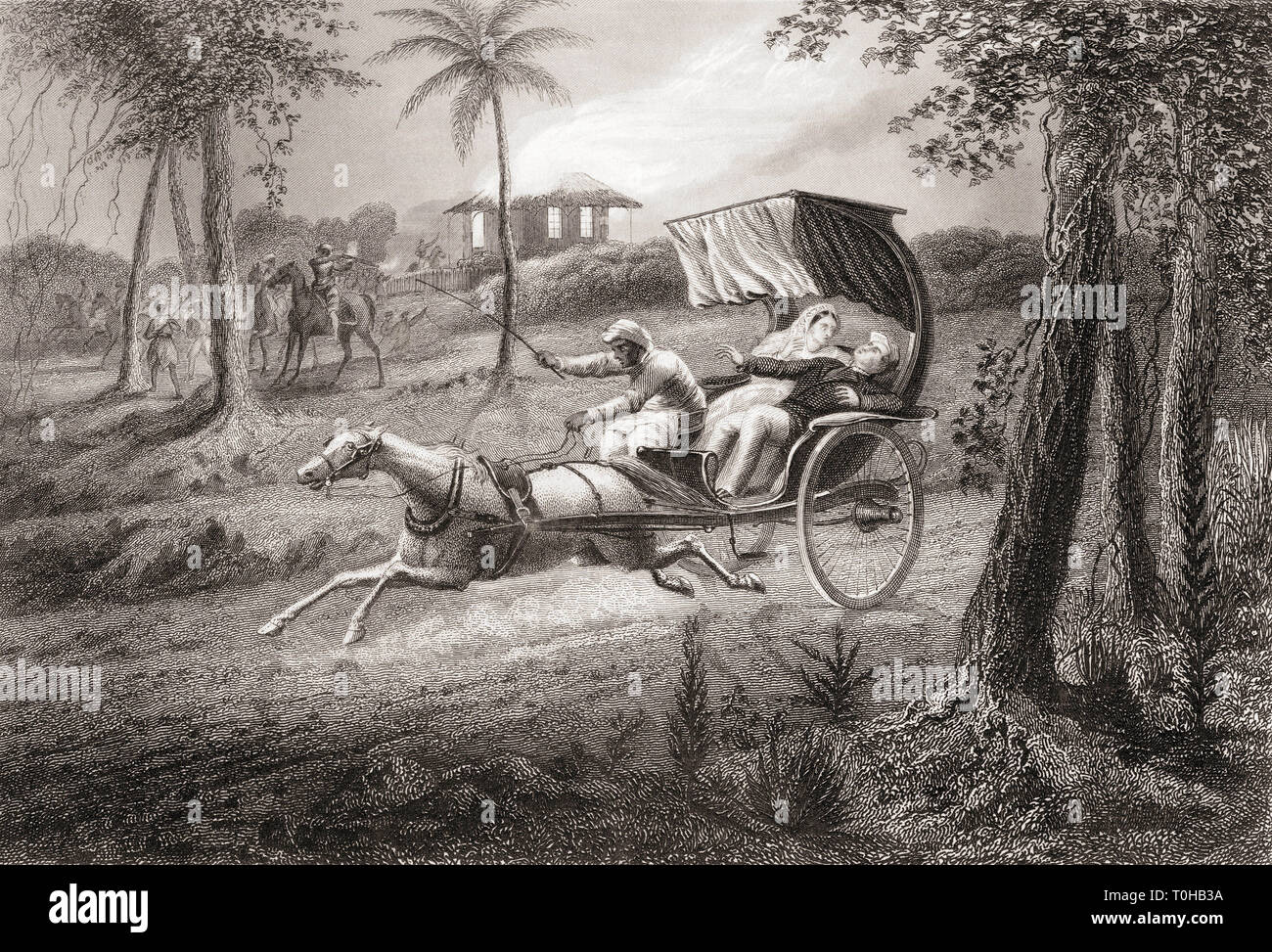 Dr Graham shot in his buggy by Sealkote Mutineers, India, Asia, 1857 Stock Photo