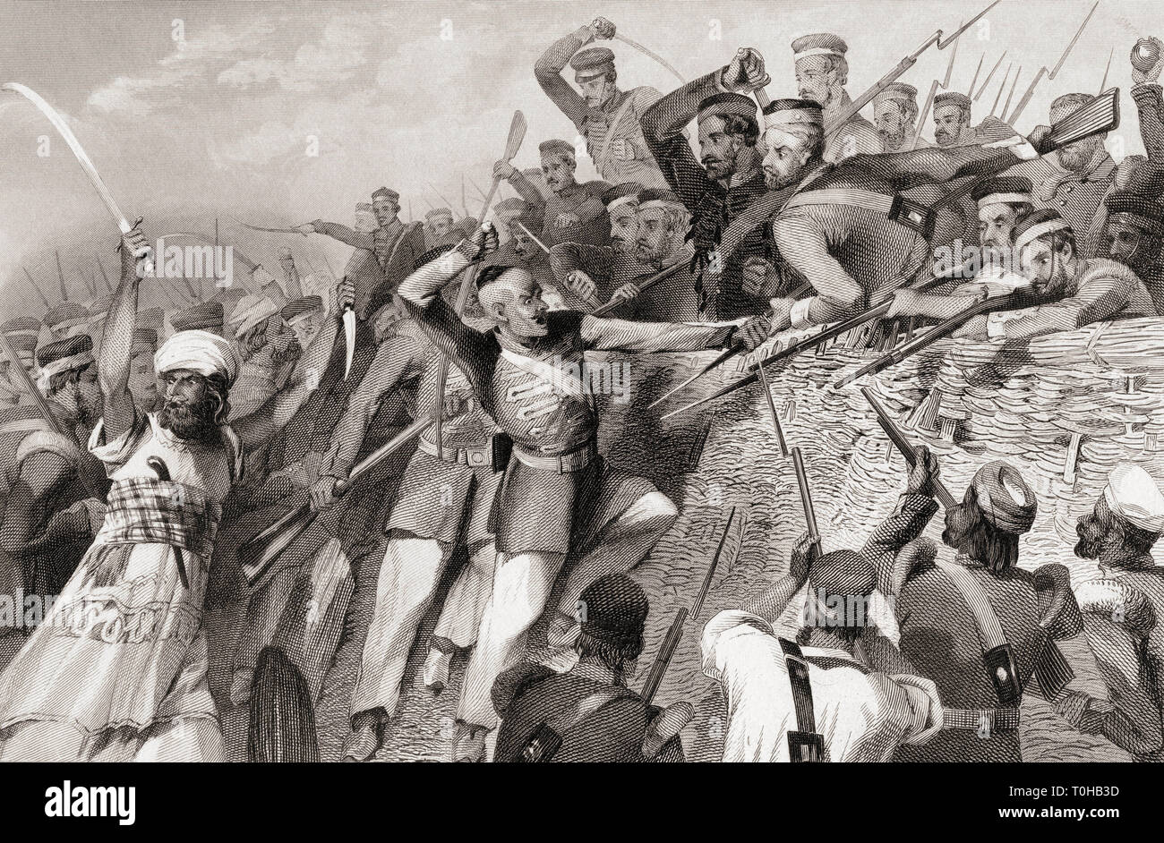 Attack of mutineers on Redan Battery, Lucknow, Uttar Pradesh, India, Asia, 1857 Stock Photo