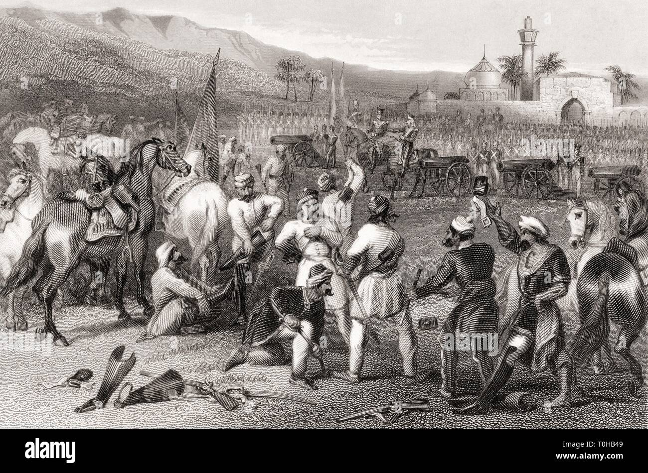 Disarming 11th Irregular Cavalry, Berhampore, India, Asia, 1857 Stock Photo