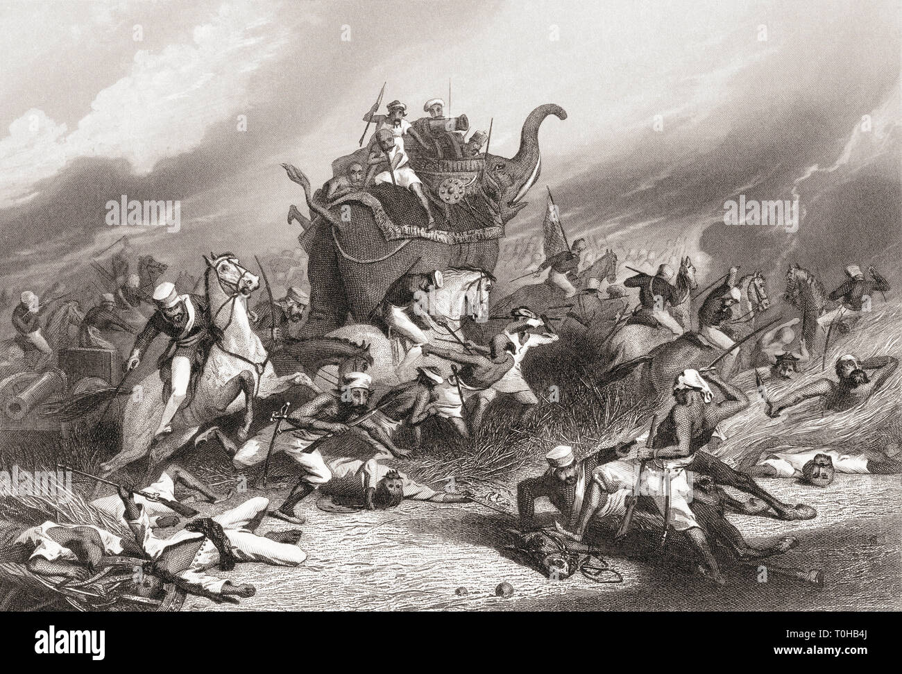 Defeat of the Peshwas army before Jhansi by General Rose, India, Asia, 1858 - Stock Image