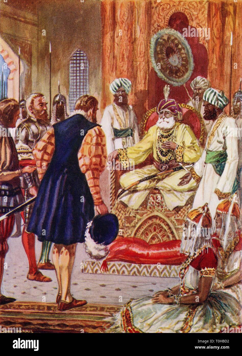 Vasco Da Gama visiting the Rajah of Cannanore, India, 1498 - Stock Image