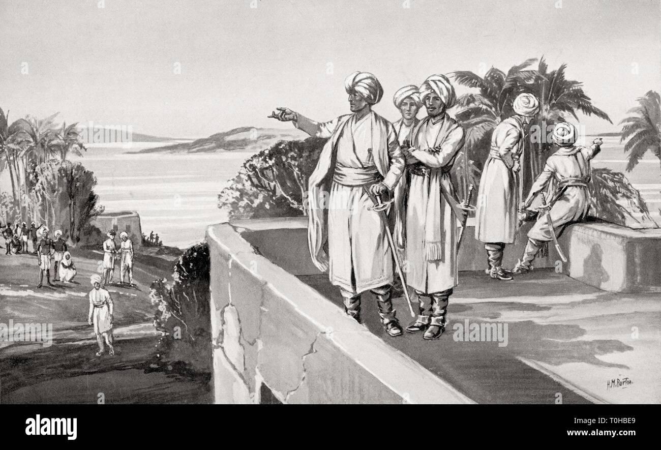 Humphrey Cooke takes possession of Bombay, India, 1665 - Stock Image