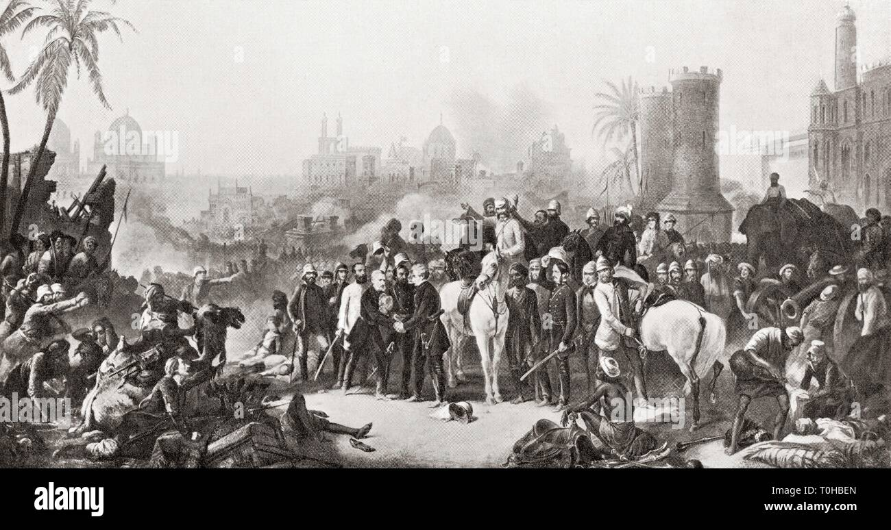 meeting of Sir Colin Campbell with Havelock and Outram at Lucknow, 1857 Stock Photo