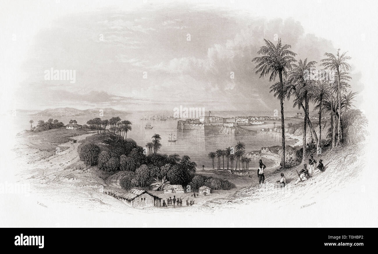 Bombay, India Engraved by Willmore after T Allom - Stock Image