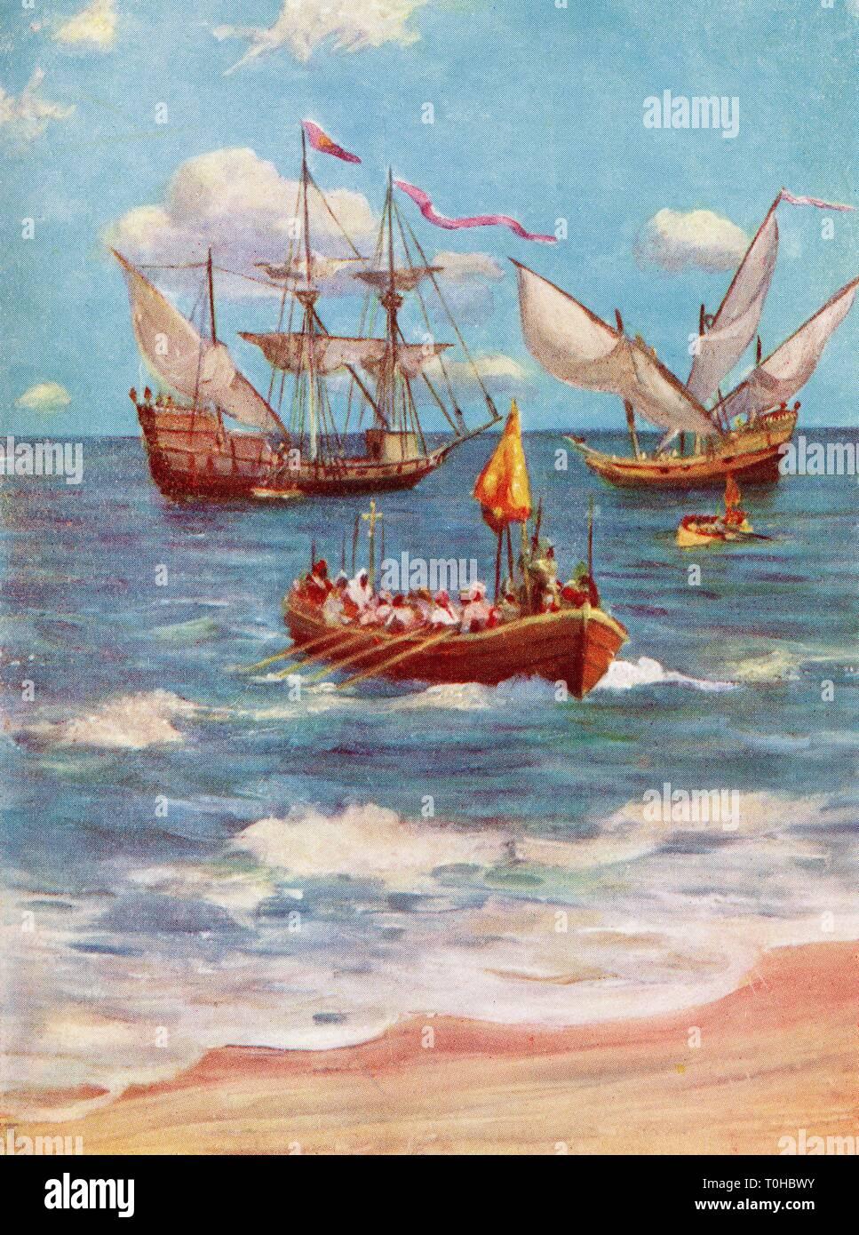Vasco Da Gama landing near Calicut India, Asia 1498 - Stock Image