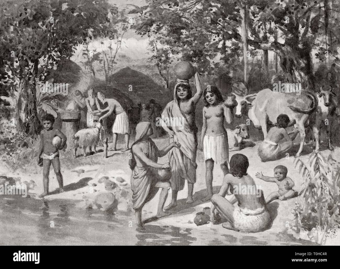 Indo Aryan settlement in ancient India - Stock Image