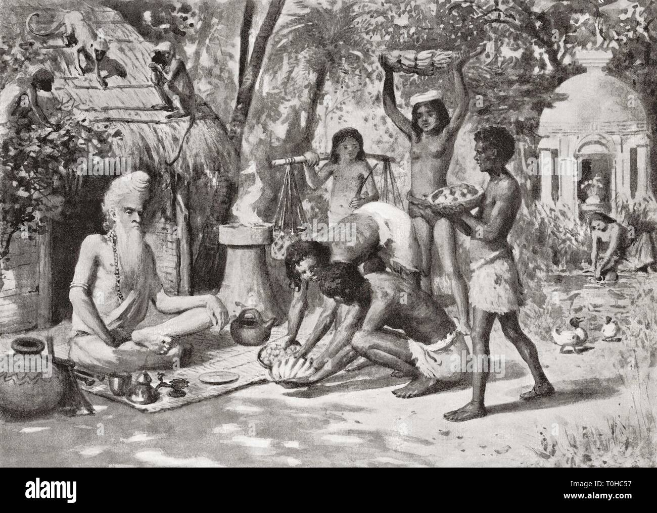 old vintage photo of hermit in ancient India - Stock Image