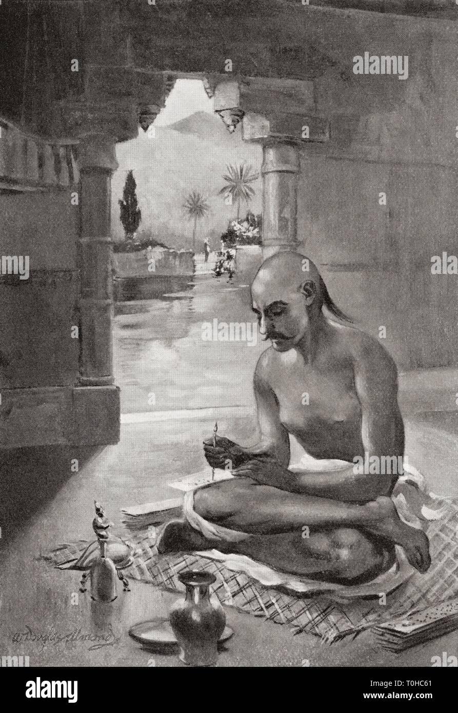 Kalidasa writing the poem Meghaduta - Stock Image